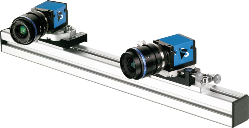 Mounting rails with two compatible industrial cameras