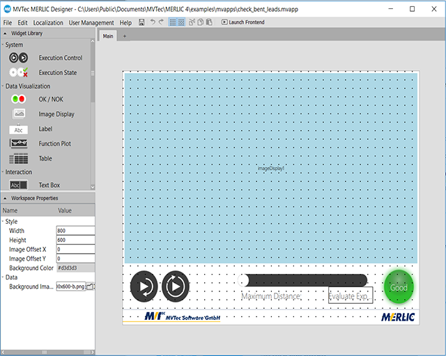 Creating a graphical user interface with MERLIC Designer